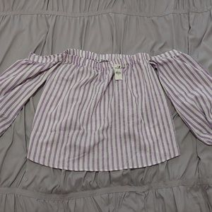 NWT Express off the shoulders purple/white blouse
